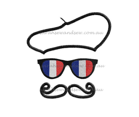 French Moustache Face Embroidery Design - Sarah Sew and Sew