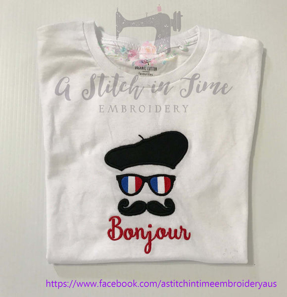 French Moustache Face Embroidery Design - A Stitch in Time Embroidery Australia
