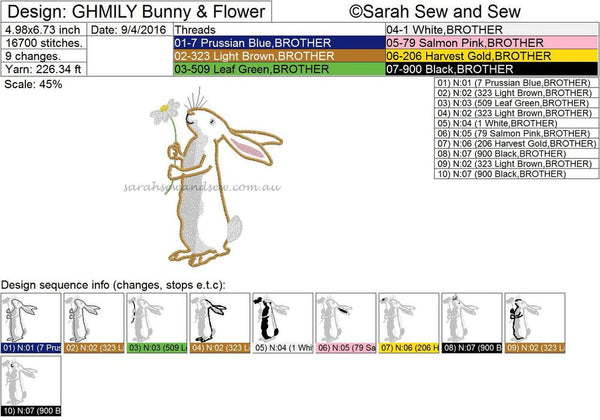 Guess How Much I Love You - Bunny & Flower Embroidery Design - Sarah Sew and Sew