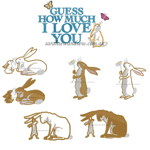 Guess How Much I Love You Embroidery Design Set - Sarah Sew and Sew