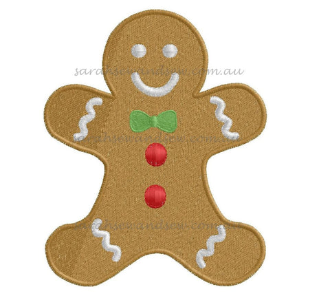 Gingerbread Man Christmas Embroidery Design - Sarah Sew and Sew