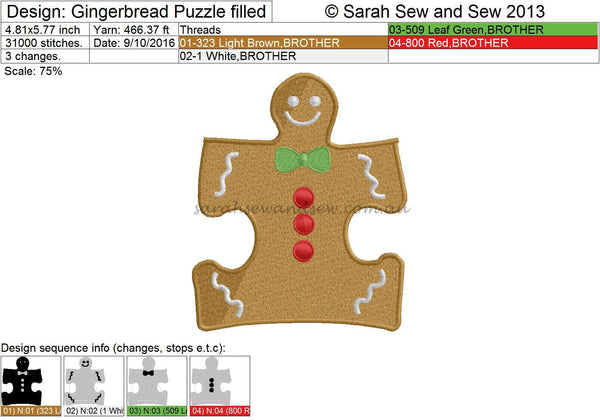 Gingerbread Puzzle Piece Embroidery Design - Sarah Sew and Sew