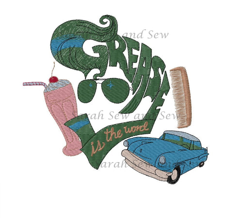 Grease is the Word Embroidery Design