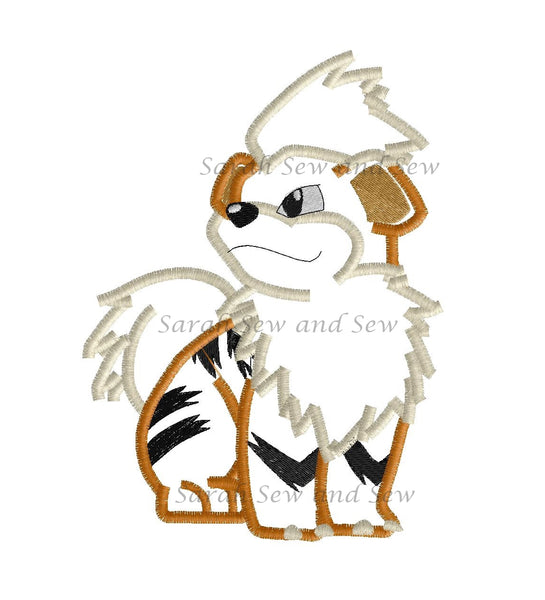 Growlithe Embroidery Designs Sarah Sew and Sew