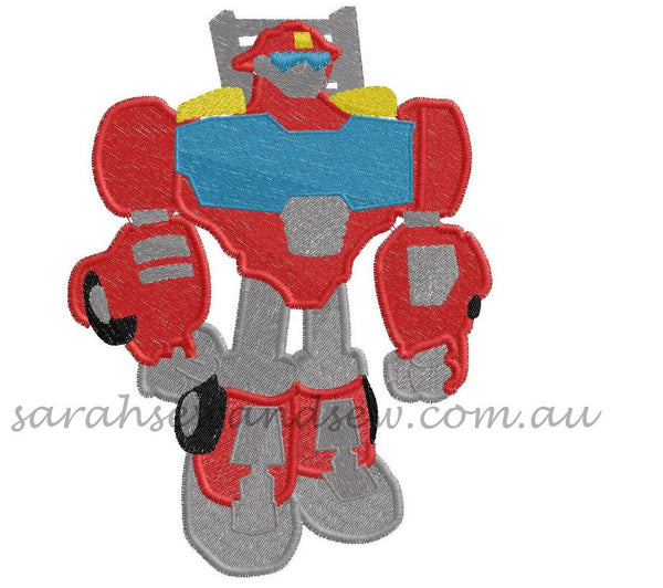Heatwave Transformers Rescue Bot Embroidery Design - Sarah Sew and Sew