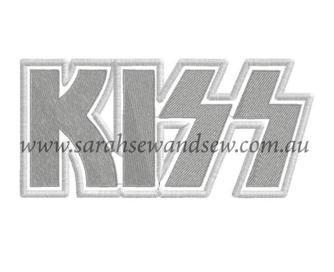 Kiss (Band) Logo Machine Embroidery Design - Sarah Sew and Sew