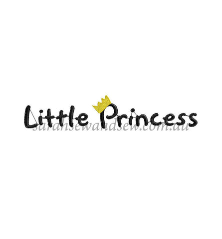 Little Princess Logo Embroidery Design - Sarah Sew and Sew
