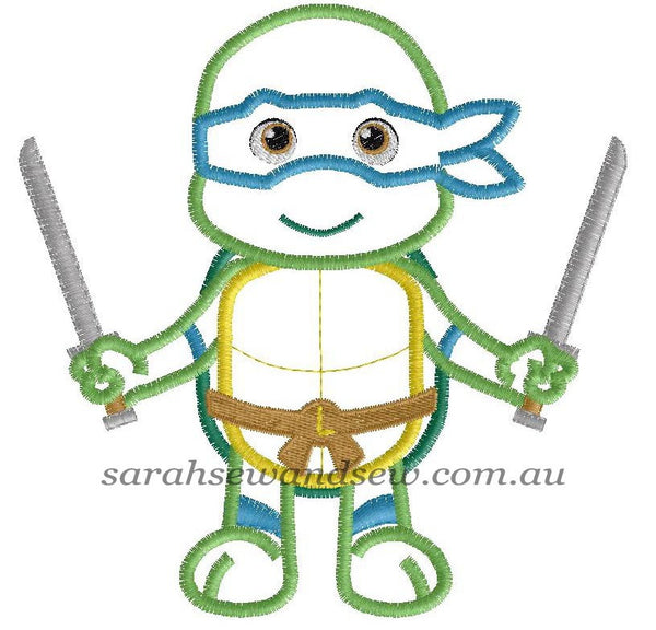 Leonardo Ninja Turtle Machine Embroidery Design - Sarah Sew and Sew