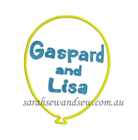 Gaspard and Lisa Logo Machine Embroidery Design - Sarah Sew and Sew