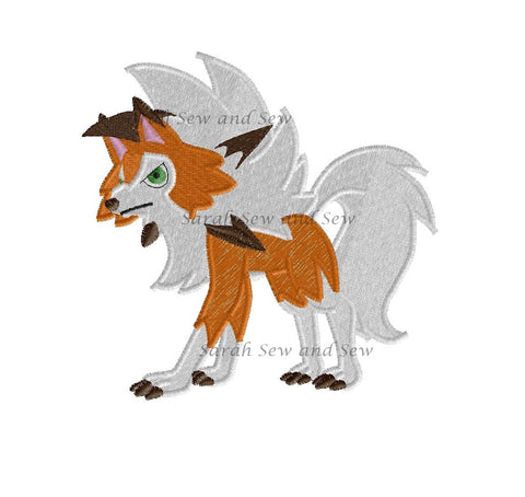 Lycanroc Embroidery Design
