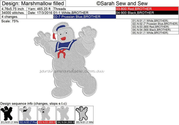 Ghostbusters Marshmallow Man Embroidery Design - Sarah Sew and Sew