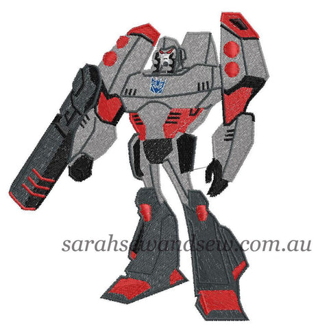 Megatron Transformers Embroidery Design - Sarah Sew and Sew