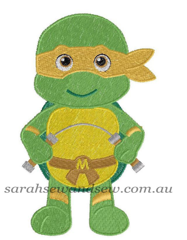Michelangelo Ninja Turtle Machine Embroidery Design - Sarah Sew and Sew