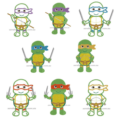 Teenage Mutant Ninja Turtle Embroidery Design Set - Sarah Sew and Sew
