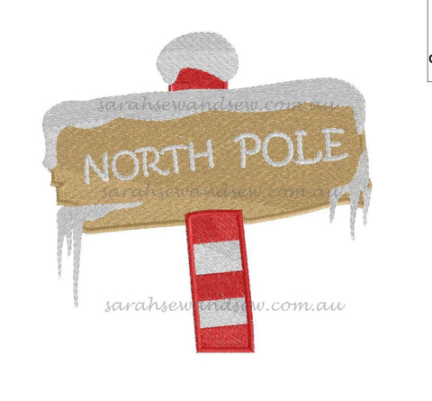 North Pole Sign Christmas Embroidery Design - Sarah Sew and Sew