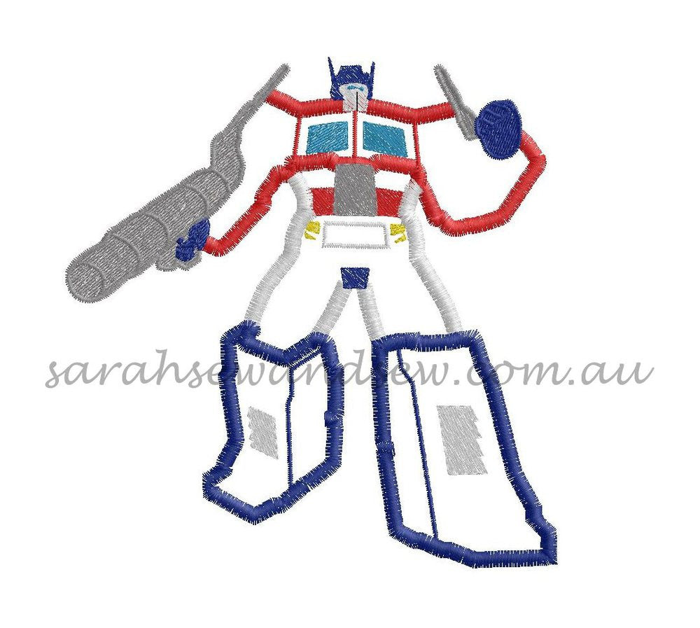 Optimus Prime Transformers Embroidery Design - Sarah Sew and Sew