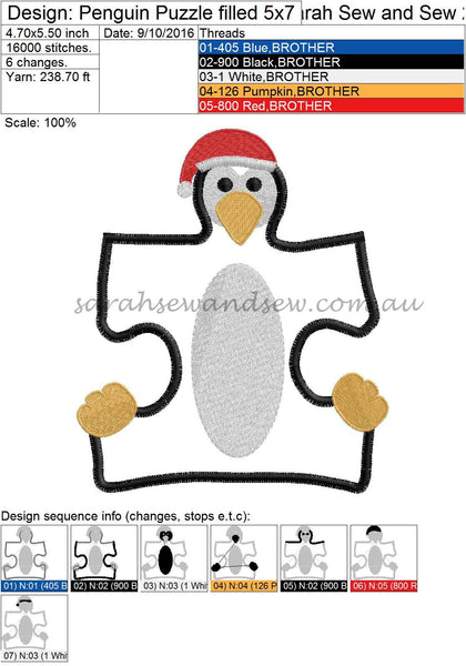 Penguin Puzzle Piece Embroidery Design - Sarah Sew and Sew