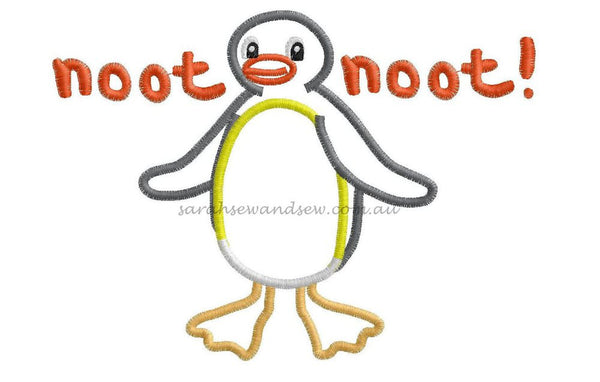 Pingu Noot Noot Embroidery Design - Sarah Sew and Sew