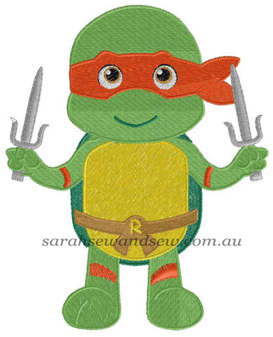 Raphael Ninja Turtle Machine Embroidery Design - Sarah Sew and Sew