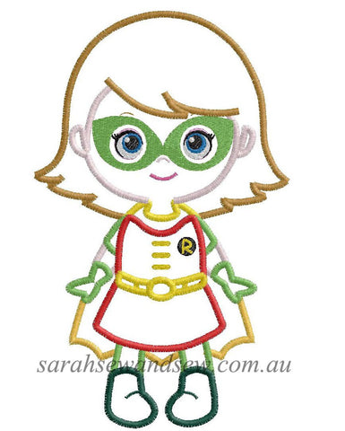 Robin Super Girl Super Hero Cutie Embroidery Design - Sarah Sew and Sew