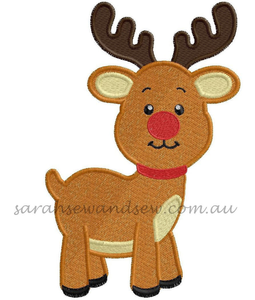 Rudolph Machine Embroidery Design - Sarah Sew and Sew