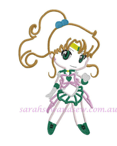 Sailor Jupiter Embroidery Design (Sailor Moon Cutie) - Sarah Sew and Sew