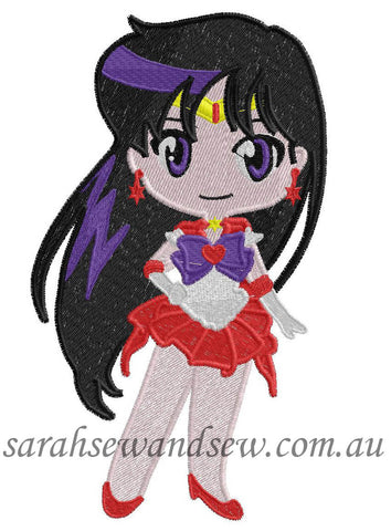 Sailor Mars Embroidery Design (Sailor Moon Cutie) - Sarah Sew and Sew