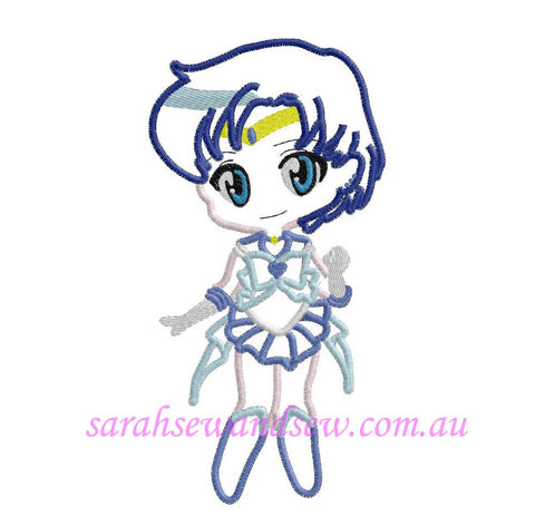 Sailor Mercury Embroidery Design (Sailor Moon Cutie) - Sarah Sew and Sew