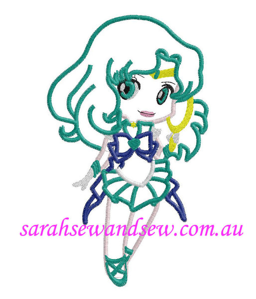 Sailor Neptune Embroidery Design (Sailor Moon Cutie) - Sarah Sew and Sew