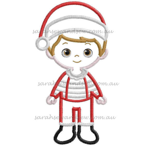 Santa Boy Christmas Embroidery Design - Sarah Sew and Sew