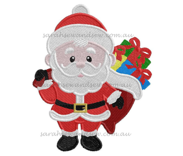 Santa Christmas Embroidery Design - Sarah Sew and Sew