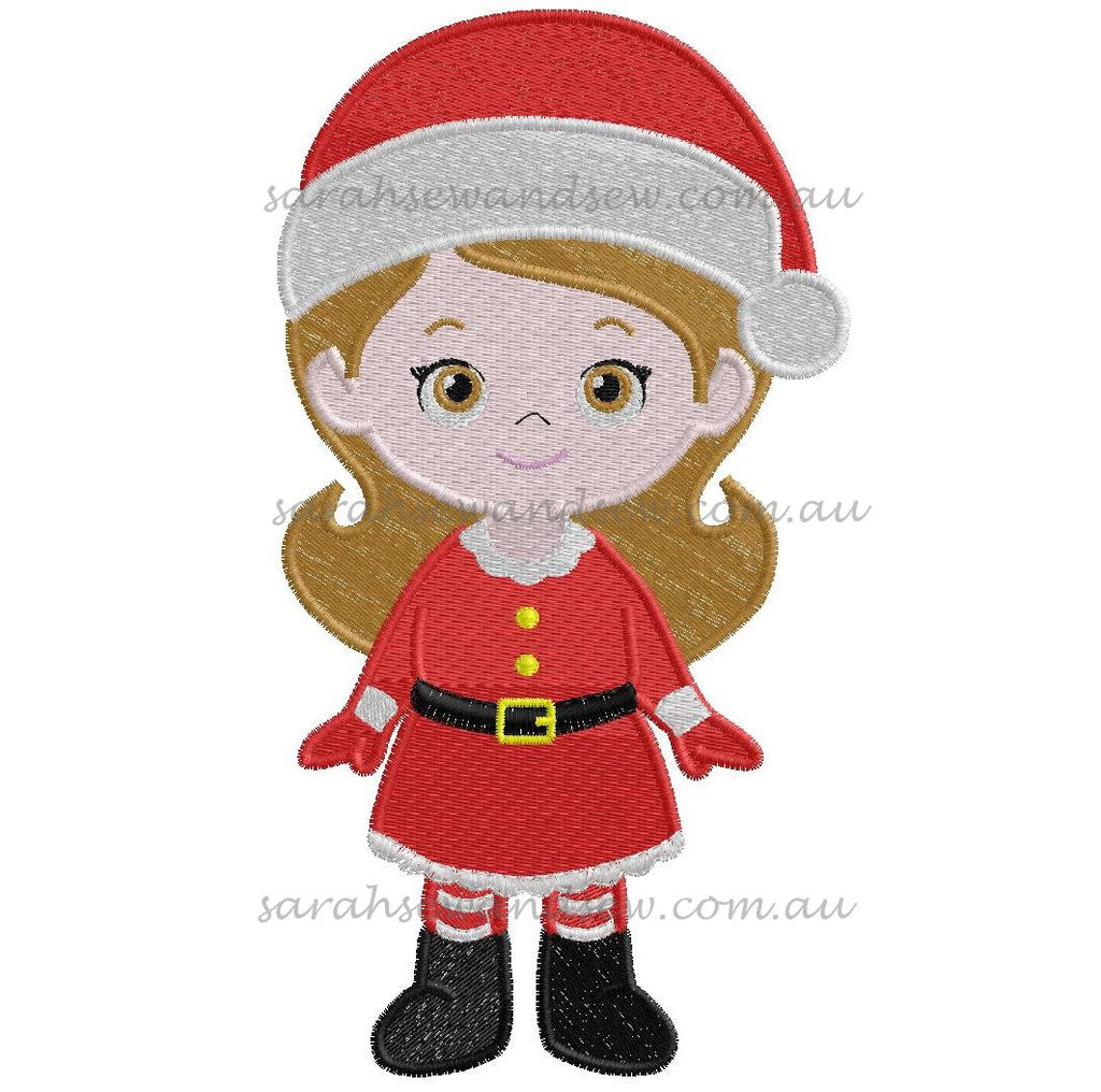 Santa Girl Christmas Embroidery Design - Sarah Sew and Sew