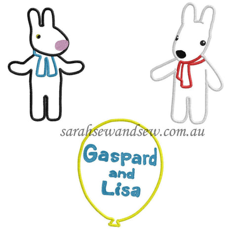 Gaspard and Lisa Embroidery Design Set - Sarah Sew and Sew