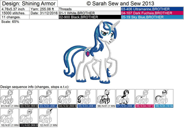 Shining Armor My Little Pony Embroidery Design - Sarah Sew and Sew