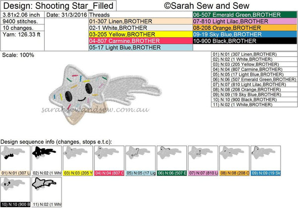 Tokidoki Shooting Star Embroidery Design - Sarah Sew and Sew