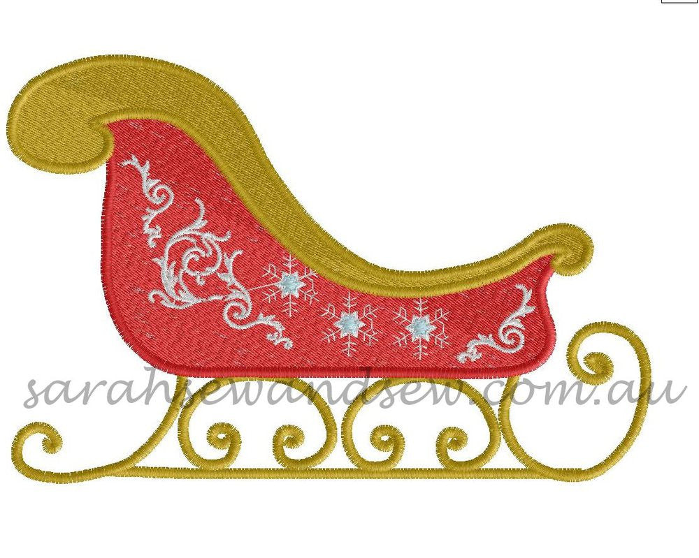 Santa Sleigh Embroidery Design - Sarah Sew and Sew