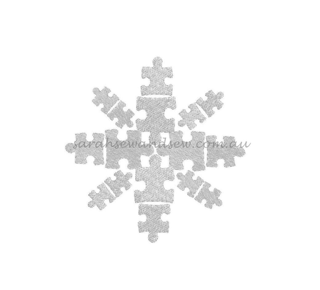 Snowflake Puzzle Pieces Embroidery Design - Sarah Sew and Sew