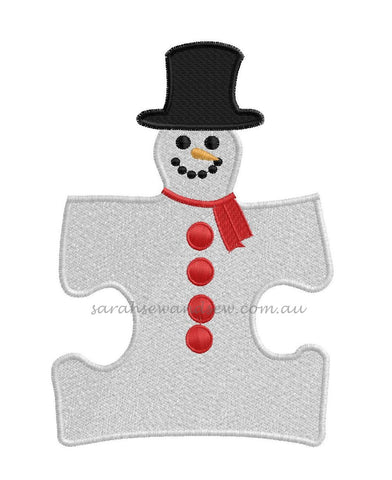 Snowman Puzzle Piece Embroidery Design - Sarah Sew and Sew
