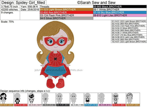 Spidey (Spider) Girl Super Hero Cutie Embroidery Design - Sarah Sew and Sew