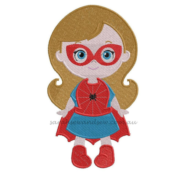 Spidey (Spider) Girl Super Hero Cutie Embroidery Design (Applique & Filled) - Sarah Sew and Sew