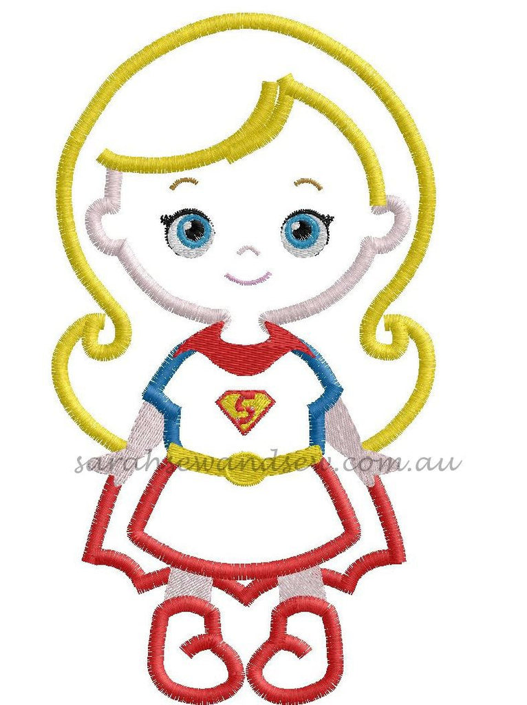 Super Girl Super Hero Cutie Embroidery Design - Sarah Sew and Sew