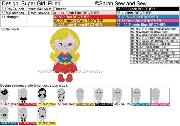Super Girl Super Hero Cutie Embroidery Design (Applique & Filled)