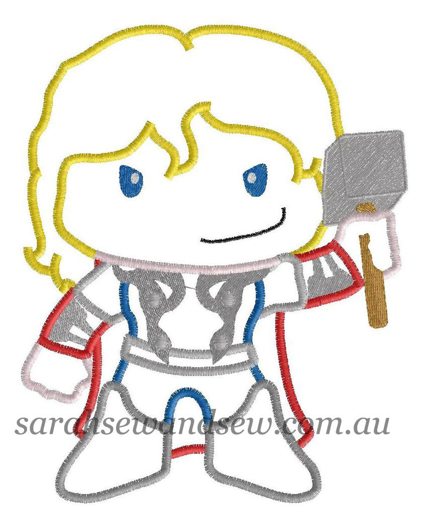 Thor Embroidery Design - Sarah Sew and Sew