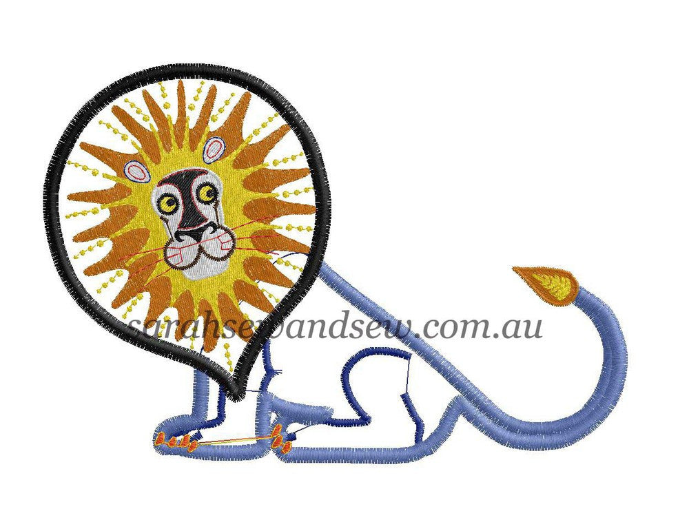 Tinga Tinga Tales Lion Embroidery Design - Sarah Sew and Sew
