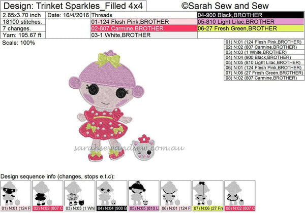 Trinket Sparkles Embroidery Design - Sarah Sew and Sew