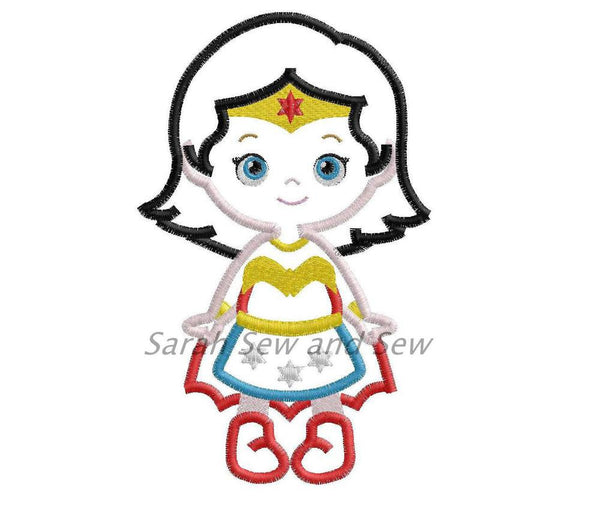 Wonder Woman Embroidery Design - Sarah Sew and Sew