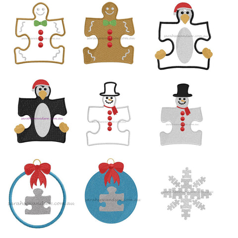 Christmas Puzzle Piece Set Embroidery Design - Sarah Sew and Sew