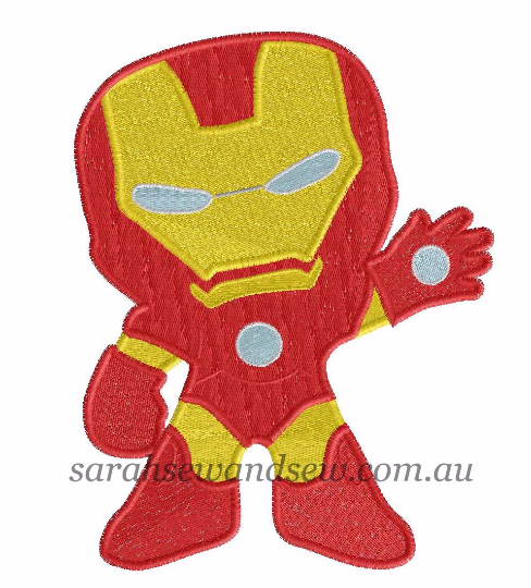 Iron Man Machine Embroidery Design - Sarah Sew and Sew