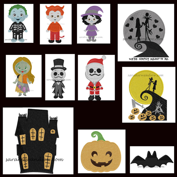Nightmare Before Christmas Embroidery Design Set - Sarah Sew and Sew