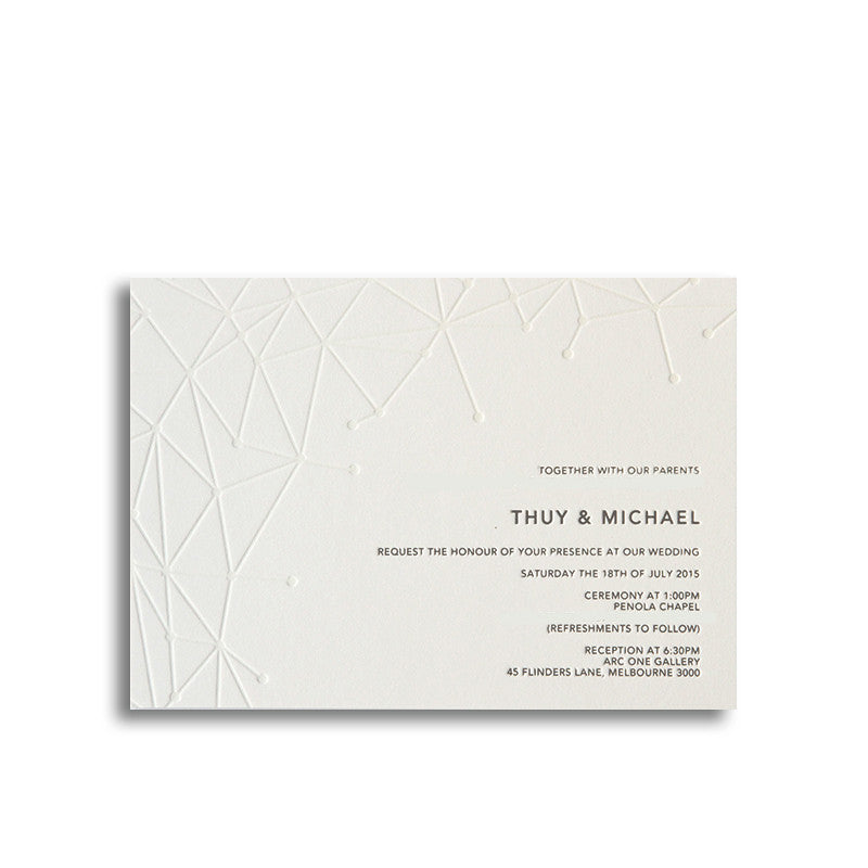 Geometric letterpress wedding invitation tympan ink geometric reheart
